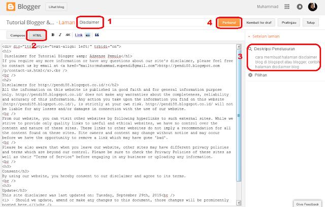cara membuat halaman disclaimer blog untuk google adsense