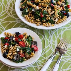 Whole Wheat Pasta Salad Recipe with Fried Kale, Tomatoes, Olives, Feta ...