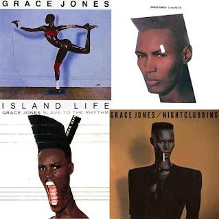 Grace Jones album covers island life, living my life, slave to the rhythm and nightclubbing