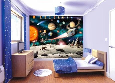 Dormitorios para niños temática universo - Dormitorios ...