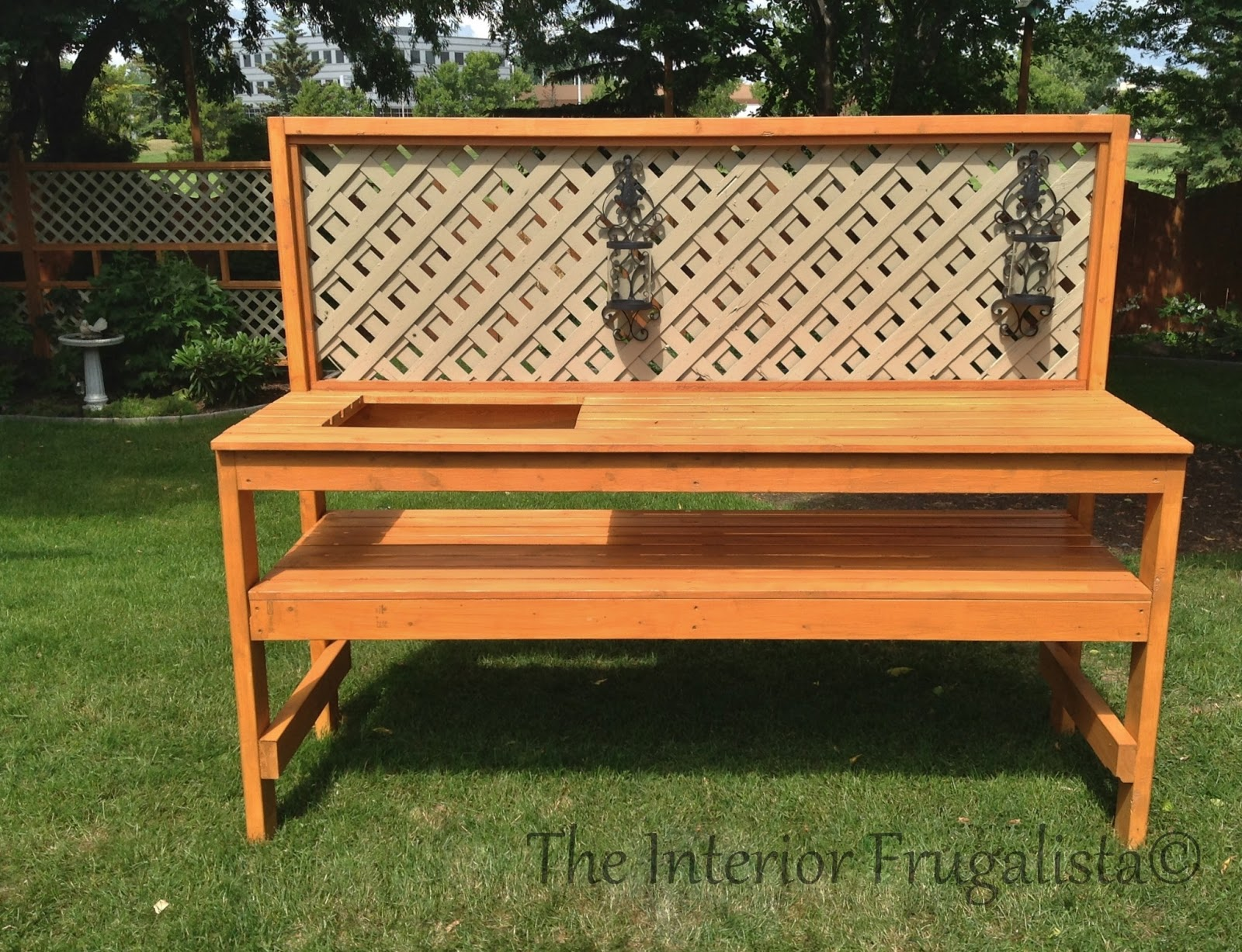 Diy outdoor bar potting bench the interior frugalista diy outdoor bar potting bench Outdoor potting bench