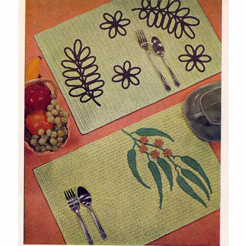 Count Cross Stitch  Leaves on Crocheted Placemats Pattern