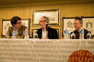 Photo of panelists Enrique Piracés (Benetech), Iain Levine (Human Rights Watch) and Sam Gregory (WITNESS) at a panel on the future of human rights celebrating Martus 10th Anniversary, Nov 6, 2013, Palo Alto, CA.