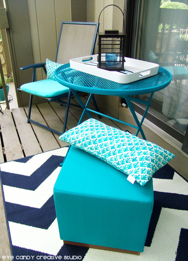 chevron outdoor rug, Target outdoor pillows, aqua stool, patio table & chairs