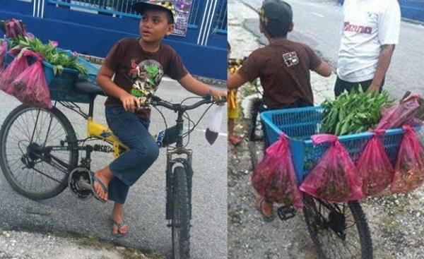Budak berbasikal jual ulam bantu sara hidup keluarga tarik simpati netizen