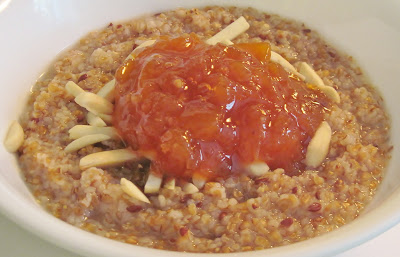 Oatmeal with almonds and NC peach marmalade