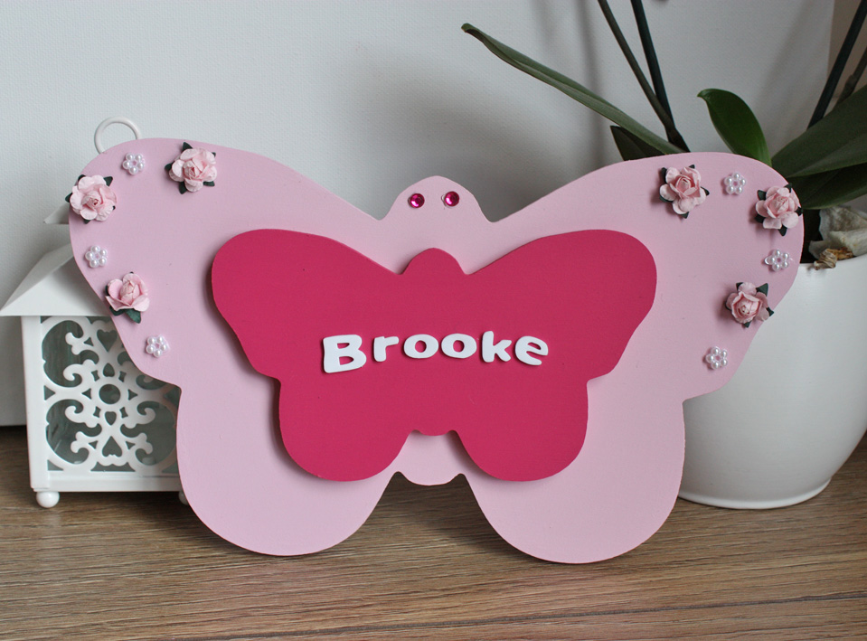 For keeps sake keepsakes personalised handmade gifts british wooden butterfly name plaque personalised gifts negle Image collections