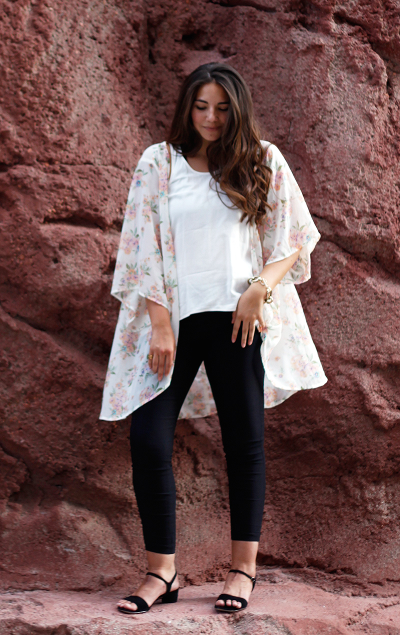 tank top and floral kimono outfit
