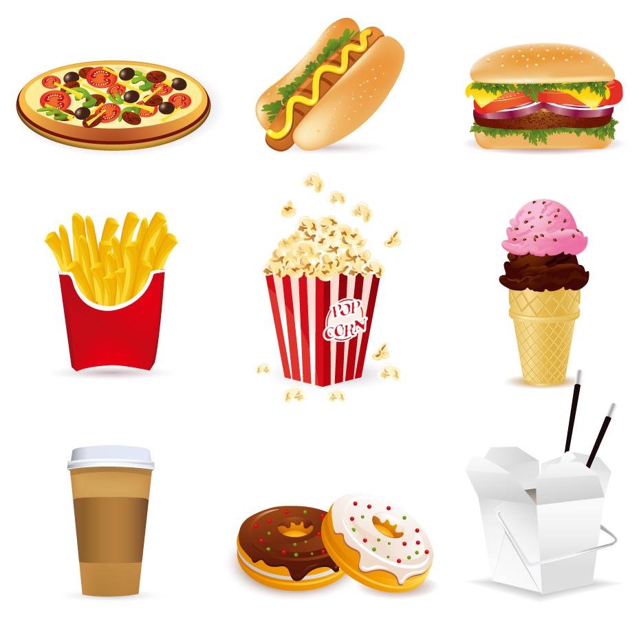 ファストフードのクリップアート fast food cartoon vector イラスト素材