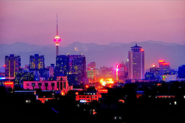 a beautiful night view of the Beijing city
