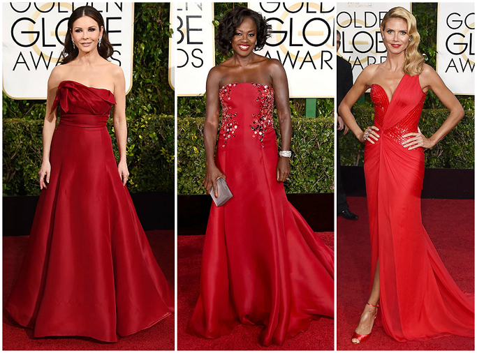 Catherine Zeta-Jones , Viola Davis in Donna Karen , Heidi Klum at Golden Globes Red Carpet