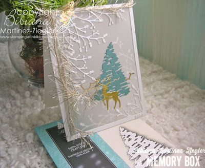 parchment card with winter tree supplies
