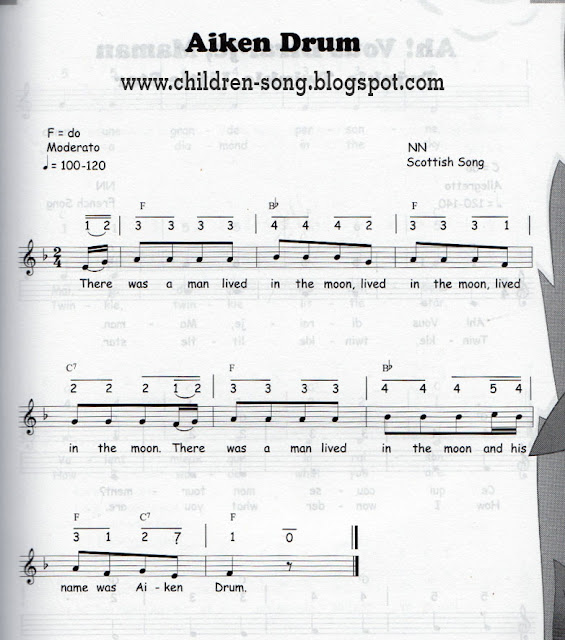 Aiken Drum Song with Lyric and Notes