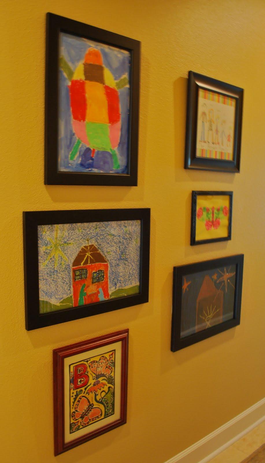 Gallery Wall with Children\'s Artwork - Amanda Jane Brown