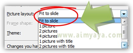 Gambar:  Cara memilih layout gambar yang akan digunakan dalam photo album di microsoft powerpoint