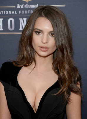 Emily Ratajkowski flashes cleavage at the 3rd Annual NFL Honors in NY