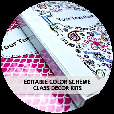 Editable Classroom Color Scheme Kits