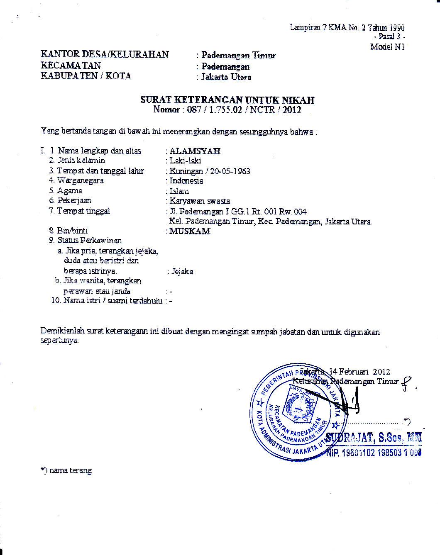 Surat Keterangan Untuk Nikah Pengantar Dari Kelurahan