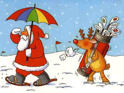 Funny santa play golf