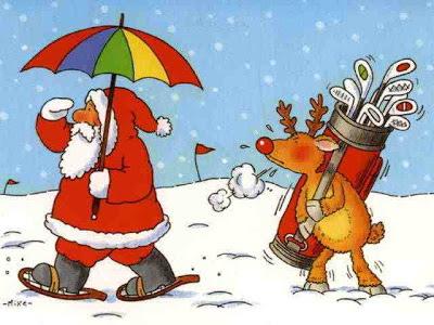 Funny santa play golf