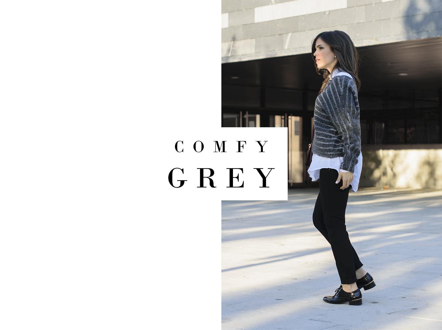 Comfy look de Zara en color gris con bolso de Eolo Jewels