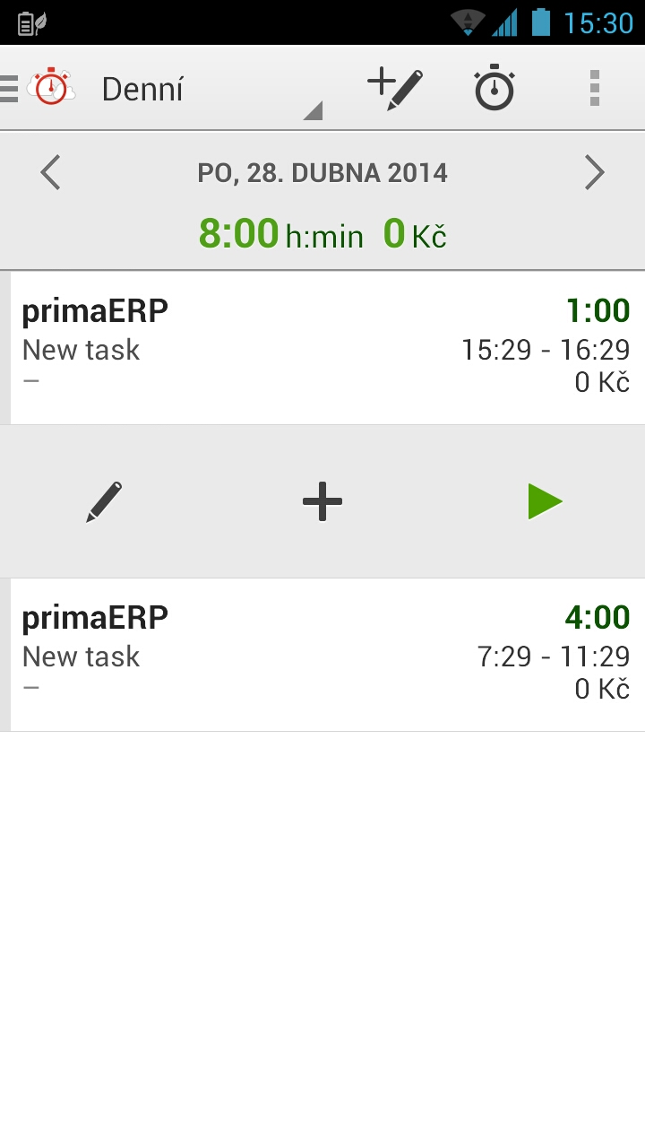 Screenshot Android aplikace TIME TRACKING by primaERP