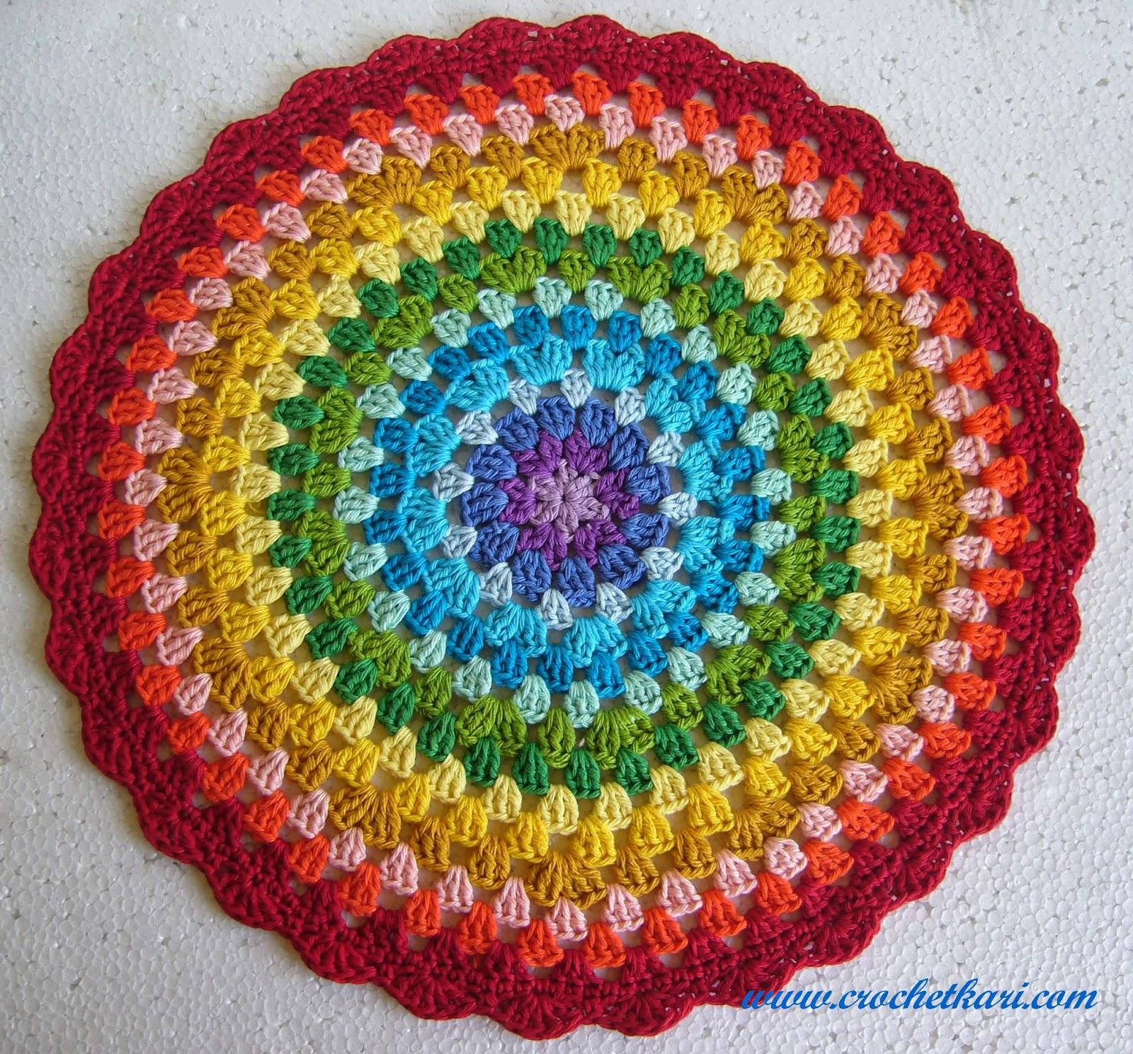 Crochet rainbow mandala