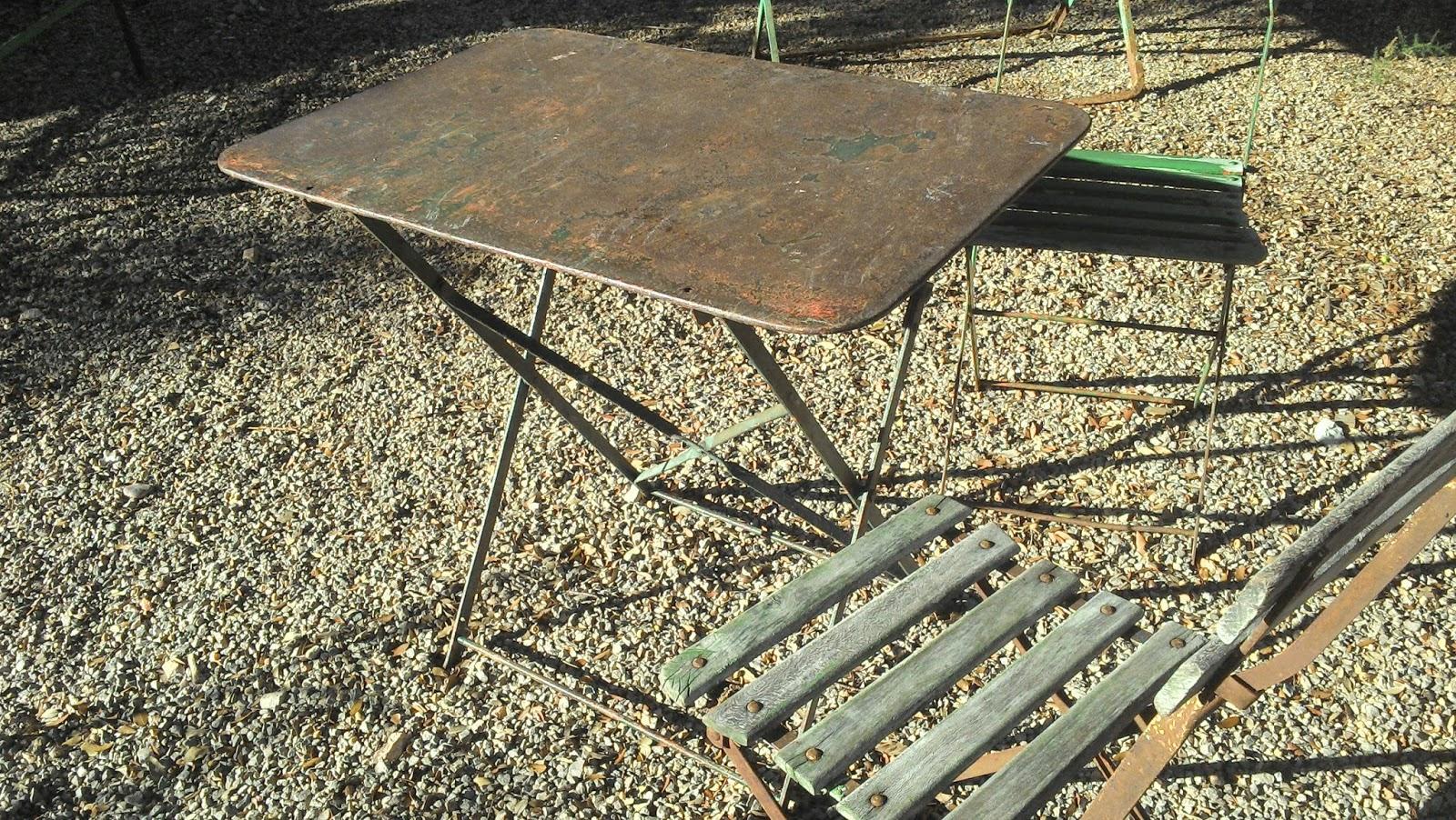 salon de jardin fer forgé métal brossé ancien provençal pliant tres ...