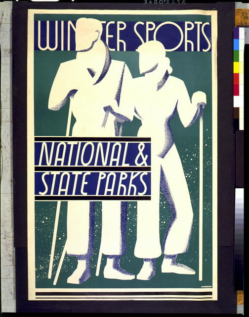 travel, travel posters, sports, skiing, national park, nature, vintage, vintage posters, retro prints, classic posters, free download, graphic design, Winter Sports, National & State Parks - Vintage Sports Skiing Travel Poster