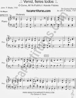 Partitura de Adeste Fideles para Piano en Fa Mayor Venid Fieles Sheet Music in F Carol Song - Villancico