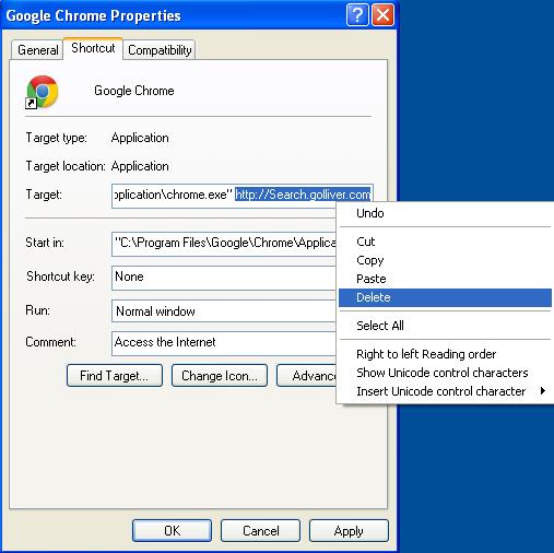 Malicious properties shortcut Search.golliver.com