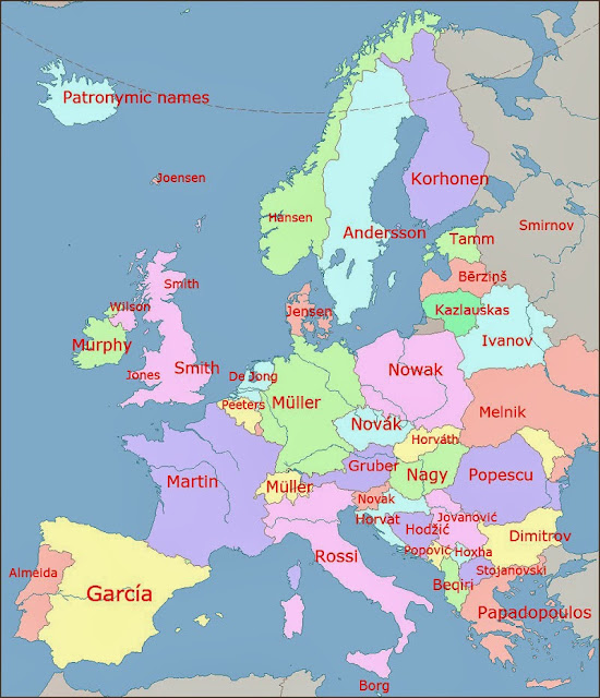 40 Maps That Will Help You Make Sense of the World - The Most Common Surnames in Europe by Country