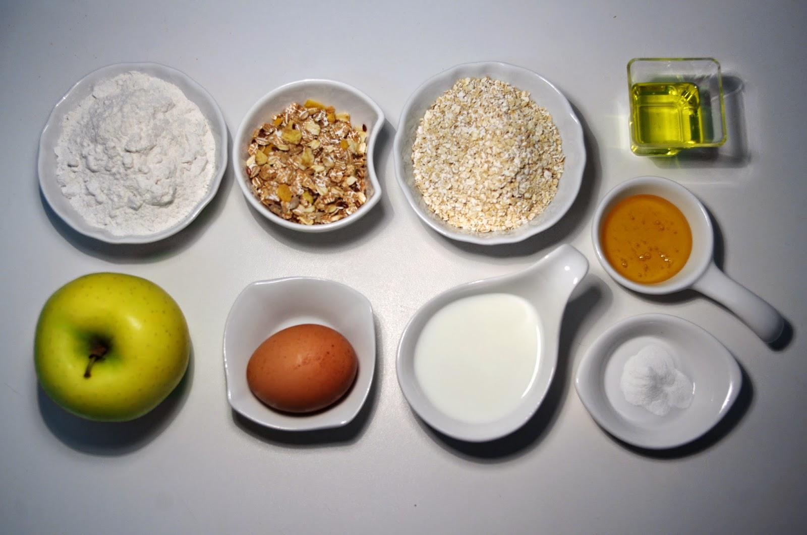 Pan integral con avena y manzana - ingredientes