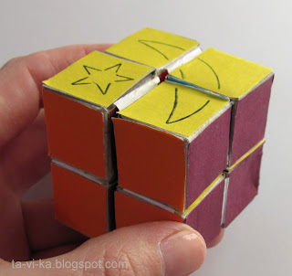 головоломка кубик-трансформер из бумаги
