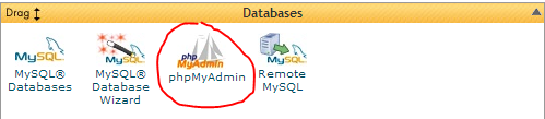 Location of phpMyAdmin in Cpanel