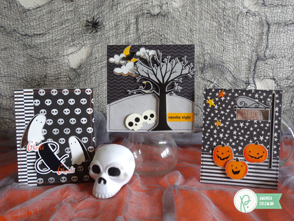 Spooky Halloween scene cards