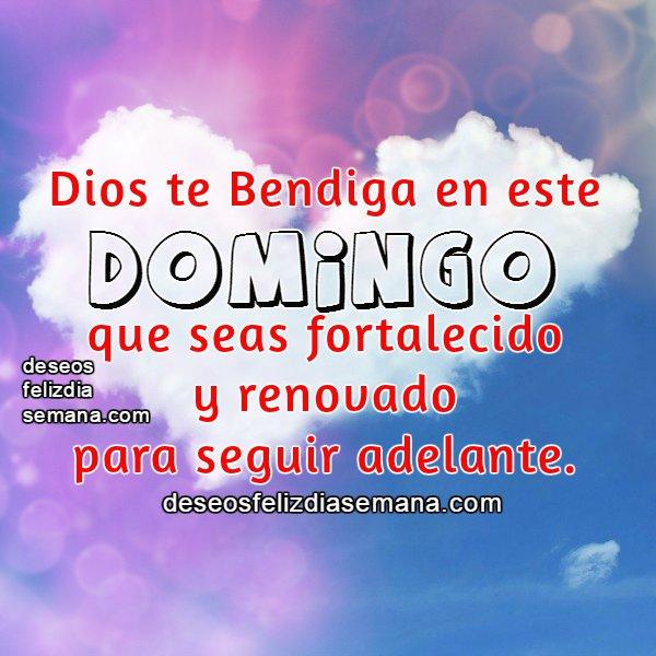 Frases de Dios te bendiga en domingo, feliz día domingo, mensaje cristiano con imagen de bendición.
