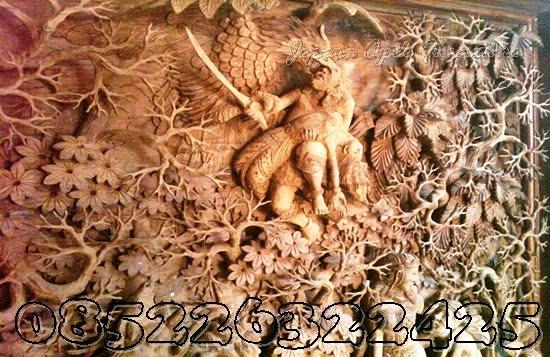 ukiran relief jati rama sinta ramayana khas jepara