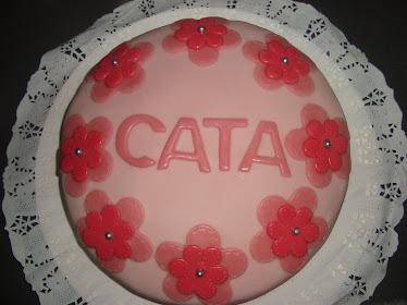 Torta con flores rosadas (25 personas)