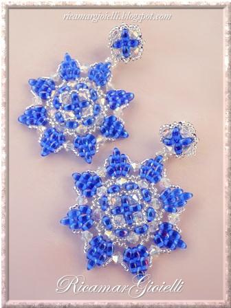 Orecchini realizzati con twin beads, bicono swarovski 4mm e rocailles 15/0