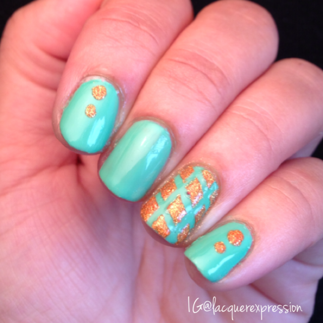 Diamond pattern and dots nail art using Mint Tropics by Sinful Colors Professional,  Beatrix by Zoya, nail vinyls and a dotting tool