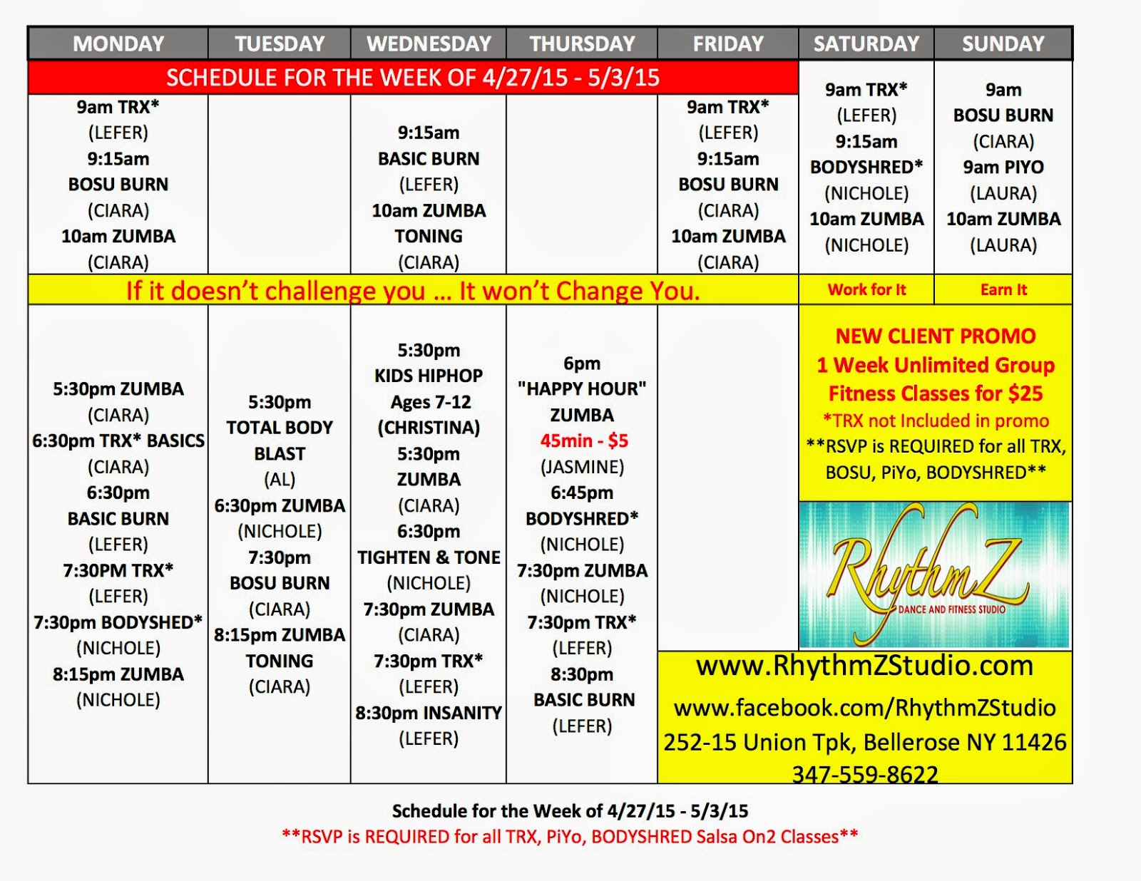 Rhythmz dance fitness studio schedule for the week of 42715 531 schedule for the week of 42715 531 maxwellsz