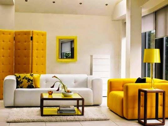 salon jaune et blanc