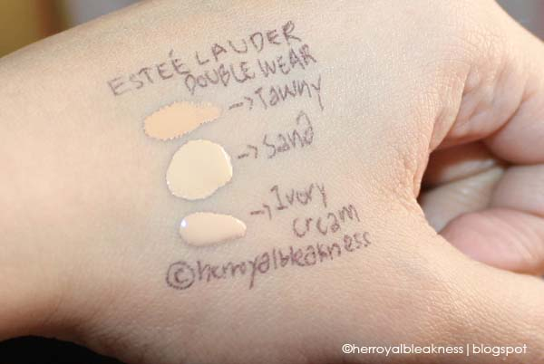 Estee Lauder Double Wear on NC25: Tawny, Sand, and Ivory Cream