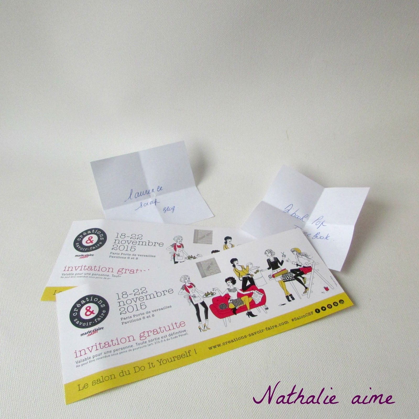 Nathalie m elles gagnent une invitation pour le salon - Salon creations savoir faire invitation ...