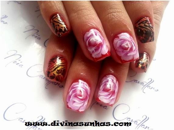 UNHAS DECORADAS COM FLORES: FOTOS, COMO FAZER - unhas decoradas com flores e borboletas fotos