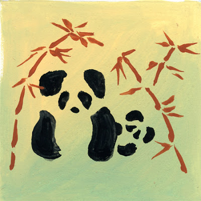 Mom and baby panda gouache sketch