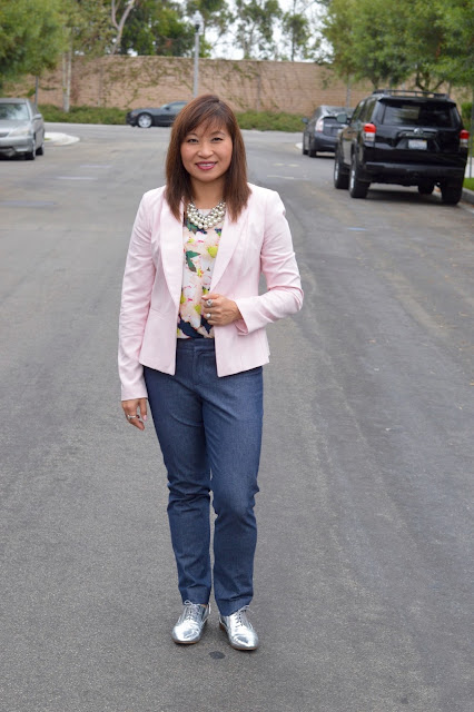 Over 40 Fashion, OC Blogger, J Crew top in Cove Floral, work style