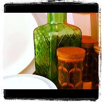 Vintage bottle and Hornsea spice pots