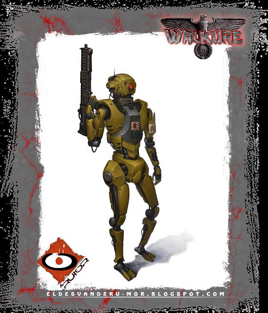 Ilustración de personaje -robot de apoyo de la Kempeitai japonesa- hecha por ªRU-MOR para el juego de rol de sci-fi WALKÜRE. En la ilustración se ve a un robot de forma humanoide, armado, y con las insignias propias de esta policía de élite.